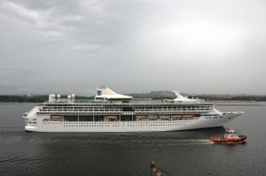 Legend of the Seas departs the Sembawang Shipyard in Singapore.