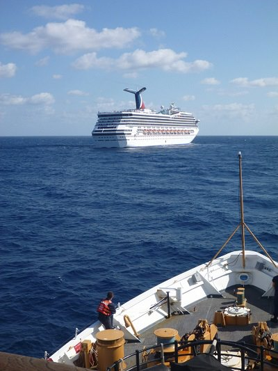 Carnival Triumph powerless at sea. (photo: USCG)